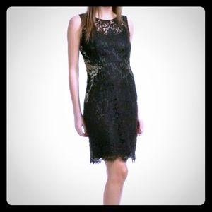 Elie Tahari Black Gold embellished lace dress